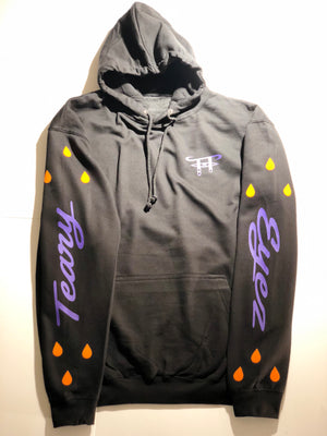 Black  Hoodie w/ purple motif and yellow tears.