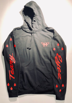 Black and red Teary Eyez Hoodie.