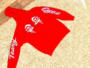 "Red and white ""Teary Eyez"" hoodie."
