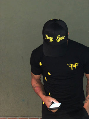 "Black and yellow short sleeve "" Teary Eyez"" dripper tee"