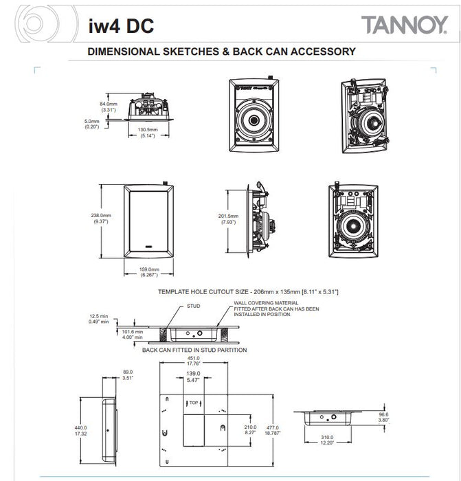 Recessed Mounts for Tannoy iw4DC in-wall speakers. New In Box