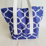 Purple Trellis print tote bag, cotton bag, reusable grocery bag, knitting project bag
