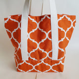 Orange Trellis print tote bag, cotton bag, reusable grocery bag, Green Market bag