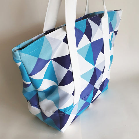 Geometric Teal and purple print tote bag, cotton bag, reusable grocery bag, knitting project bag.