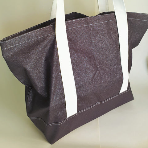 Shimmer Midnight blue tote bag, cotton bag, reusable grocery bag.