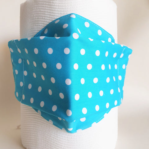 Turquoise blue polka dot with white lining face mask, three layers, thick weave cotton fabric.