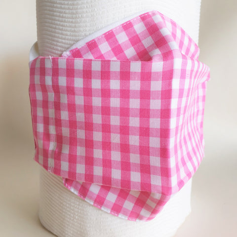 Pink gingham and white face mask