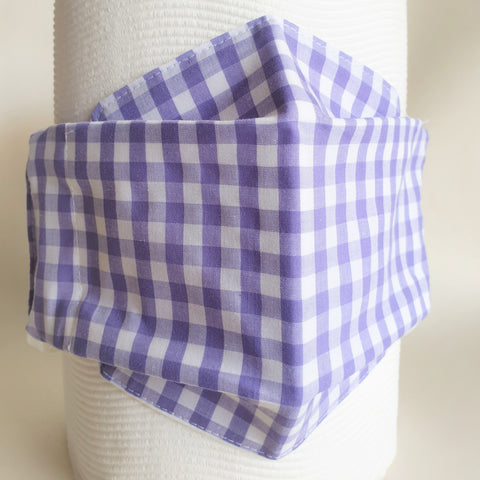 purple gingham face mask