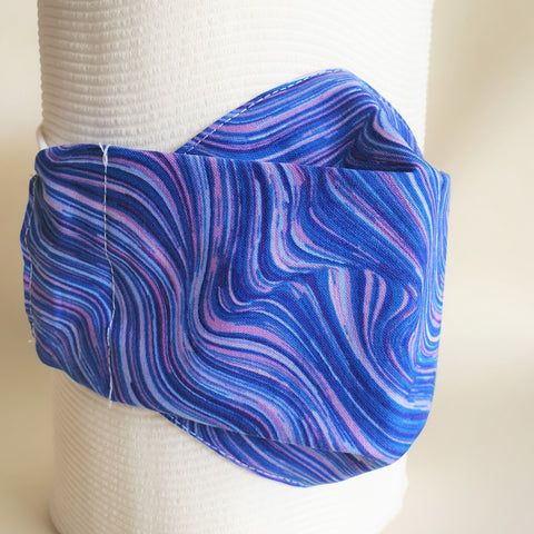 Blue and purple waves face mask