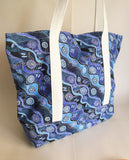 Blue Australian Aboriginal Art print tote bag, cotton bag, reusable grocery bag.