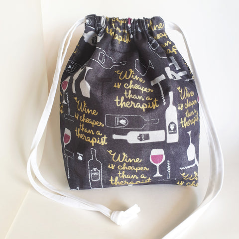 Wine is cheaper than a therapist print drawstring bag