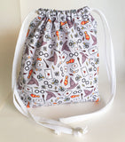 Harry Potter inspired Snitch, Sorting hat, winged keys, thunderbolt print cotton drawstring bag.