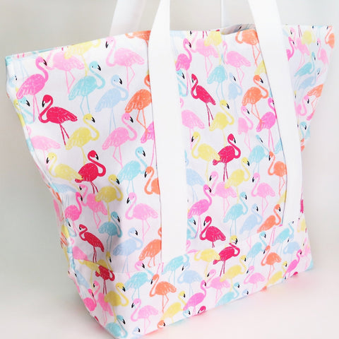 Flamingo print tote bag, cotton bag, reusable grocery bag, knitting project bag.