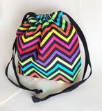 Rainbow neon Chevron print cotton drawstring bag or knitting project bag.