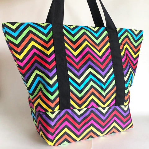 Rainbow neon chevron tote bag
