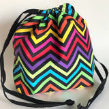 Rainbow neon chevron drawstring bag