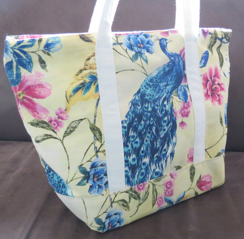 Peacock print lemon colored Tote bag, cotton bag, reusable grocery bag.