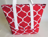 Red Trellis print tote bag, cotton bag, reusable grocery bag.