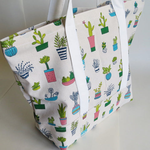 Succulent plant print tote bag, cotton bag, reusable grocery bag.