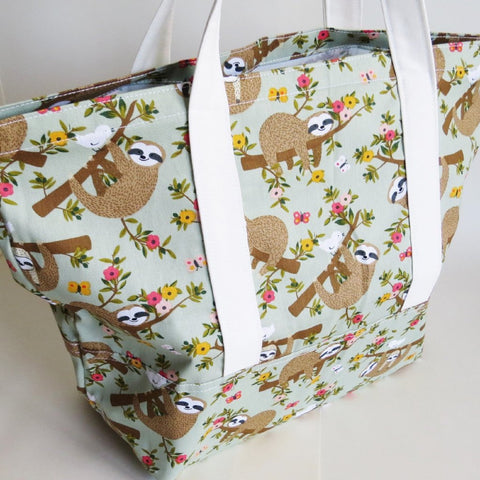 sloth and baby sloth Tote bag knitting bag beach bag library bag