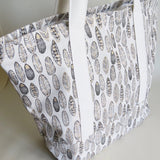 Feather Gold  print tote bag, cotton bag, reusable grocery bag, knitting project bag.