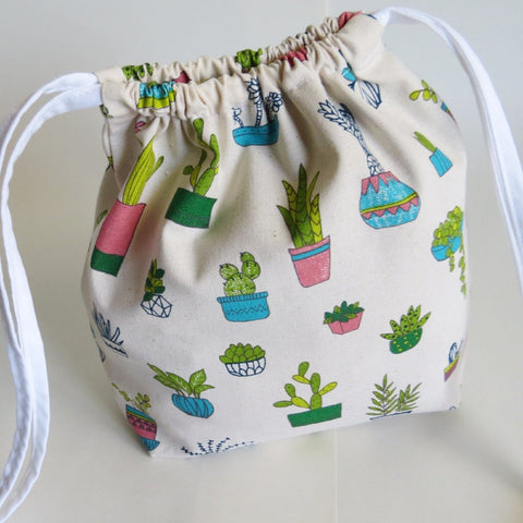 Succulent plant print cotton drawstring bag or knitting project bag.