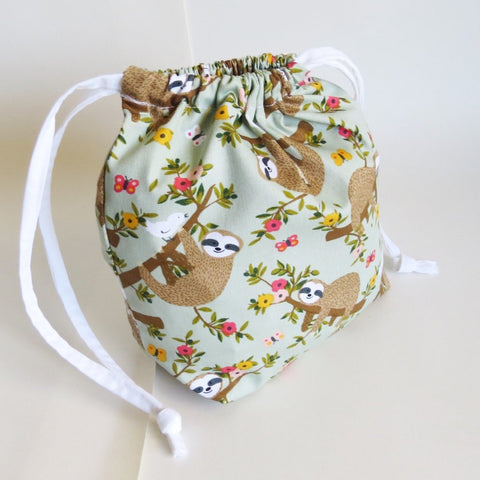 Sloth and baby sloth Drawstring bag, cable bag, knitting bag, project bag, gift bag, party favours, toiletry bag