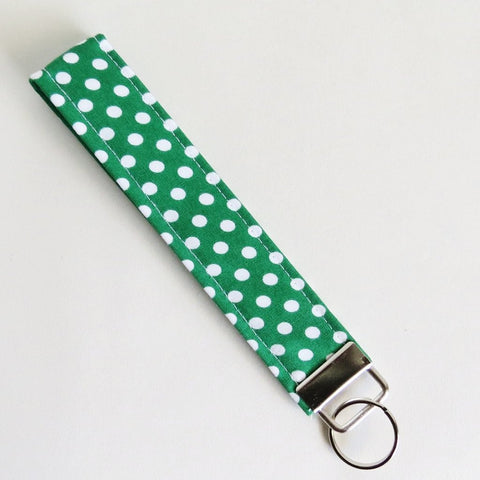 Green and white polka dot Fabric Keychain, Key Fob Wristlet, Key Fob Keychain, Key Wrist Strap.