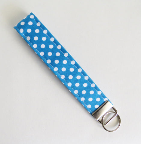 Aqua polka dot fabric Key fobs, key rings, key chain, fabric key fob