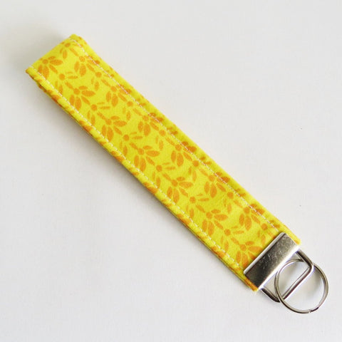 Yellow Fabric Keychain or Key Fob Wristlet