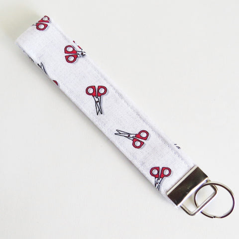 Scissors print Fabric Keychain or Key Fob Wristlet.