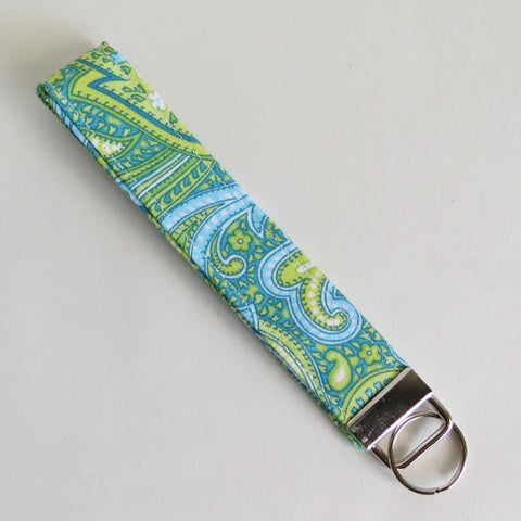Blue and green paisley print Fabric Keychain, Key Fob Wristlet, Key Fob Keychain, Key Wrist Strap.