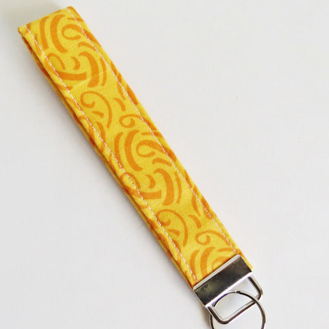 Yellow and orange Fabric Keychain or Key Fob Wristlet.