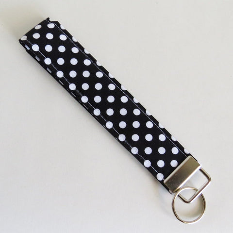 Black and white polka dot Fabric Keychain, Key Fob Wristlet, Key Fob Keychain, Key Wrist Strap.