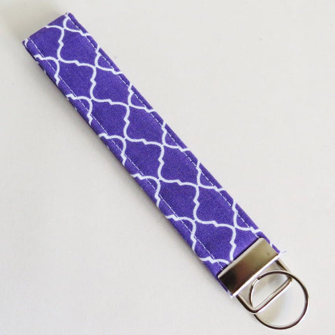 Purple trellis Fabric Keychain or Key Fob Wristlet.