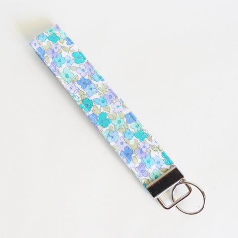 Blue and purple floral print Fabric Keychain, Key Fob Wristlet, Key Fob Keychain, Key Wrist Strap.