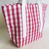 Red Gingham tote bag, cotton bag, reusable grocery bag, Green Market bag.