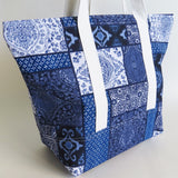 Blue and white tile print tote bag, cotton bag, reusable grocery bag.
