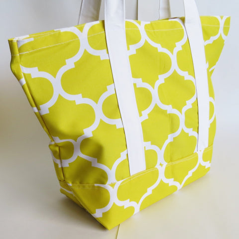 Lemon Yellow Trellis print tote bag, cotton bag, reusable grocery bag.