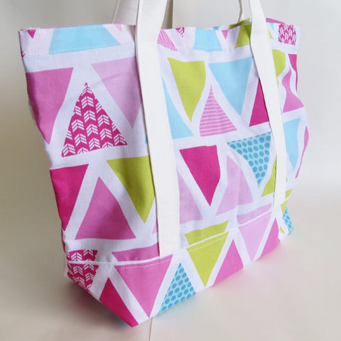 Pink triangle tote bag, cotton bag, reusable grocery bag, Green Market bag
