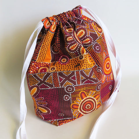 aboriginal print Drawstring bag, cable bag, knitting bag, project bag, gift bag, party favours, toiletry bag