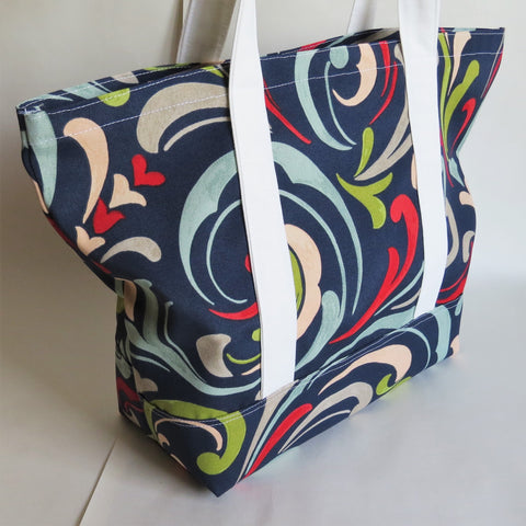 Waves print tote bag, cotton bag, reusable grocery bag.