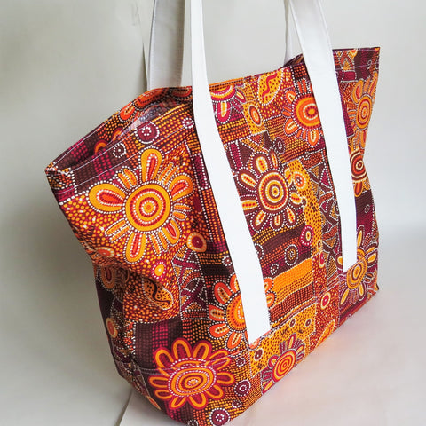 Orange Australian Aboriginal Art print tote bag, cotton bag, reusable grocery bag.