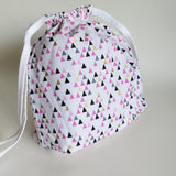 Pink Copper Triangles print cotton drawstring bag or knitting project bag.