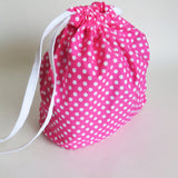Pink and White polka dots print cotton drawstring bag or knitting project bag.