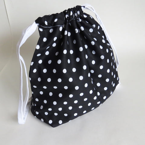 Black and White polka dots print cotton drawstring bag or knitting project bag.