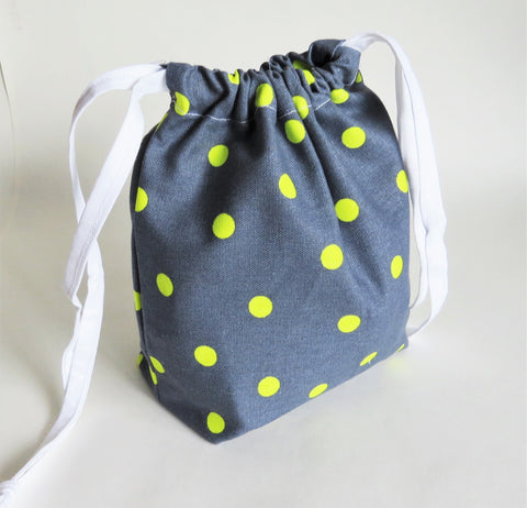 Grey and neon green Polka Dot print cotton drawstring bag or knitting project bag.