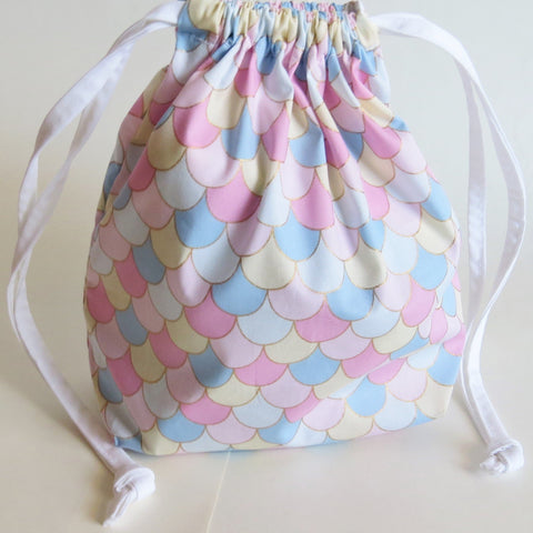 Pink waves print cotton drawstring bag or knitting project bag.