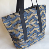 Black and gold print tote bag, cotton bag, reusable grocery bag, knitting project bag.