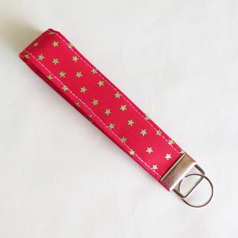 Christmas special Red and gold Stars Fabric Keychain, Key Fob Wristlet, Key Fob Keychain, Key Wrist Strap.